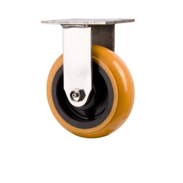 Roulette rigide en acier inoxydable pivotant robuste