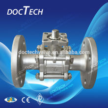 3-PC Full Port Flange Ball Valve PN40 DN 15 1000WOG Stainless Steel 304/316 With High Mounting Pad