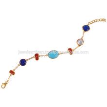 Bracelet Argent Turquoise, Lapis, Corail, Perle et Argent Plaqué Or 18k