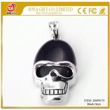 Black Onyx Semi Precious stone Skull Alloy Pendant