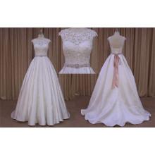 Vestido de boda de la longitud del piso del satén rebordear
