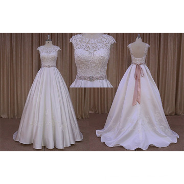Beading Satin Floor Length Wedding Dress