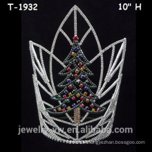 Large colored crystal christmas tree crowns, christmas pageant crowns