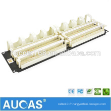 """1U 19 """"200 paires de panneau de raccordement de 110 voix / téléphone AMP Blocage de voix RJ11 / gestion du câble du panneau de raccordement AUCAS"""