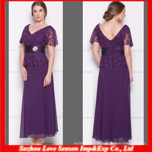HM0006 2014 New Fshion Cheap Chinese Wholesaler Sexy floor length Short sleeve crystal sash eggplant mother of the bride dress