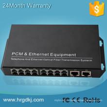 С Ethernet RJ45 порта fxo-порт FXS с 8 канала горшки (разъем RJ11) телефонную линию над конвертером волокна