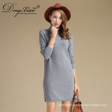 Hot Sell Grey Color Hight Neck Long Cashmere Sweaters For Women New Products 2017