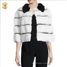 Женщины Белые и черные шерстяные пальто Короткие пальто из кролика