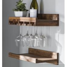 Pendurar fazer Rack de vidro de vinho de madeira maciça
