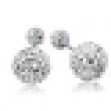 Pendientes de cristal doble de plata de ley 925 elegantes de mujer