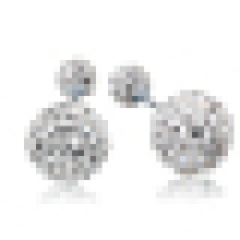 Women′s Elegant 925 Sterling Silver Double Crystal Stud Earrings