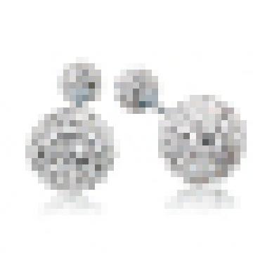 Women′s Elegant 925 Sterling Silver Double Crystal Stud Earrings