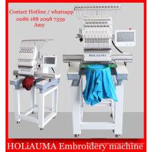 Máquina de bordar de alta velocidad 1 cabeza multifunción / 3D camiseta la máquina plana del bordado del casquillo