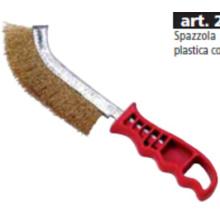 Cepillo de alambre de mango de plástico rojo corto