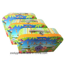 Child Toy Storage Paper Suitcase Boxes with Metal Handle