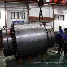 600lb a forgé la vanne à tournant sphérique fixe de grande taille en acier de bride