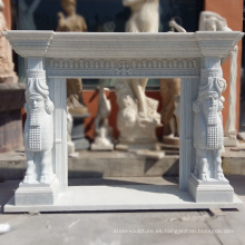 Chimenea independiente de alta calidad Carrara White Marble Surrounds