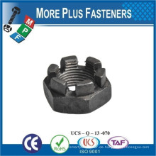 Made in Taiwan DIN 937 Low Slotted Castellated Sechskantmutter Carbon Stahl verzinkt