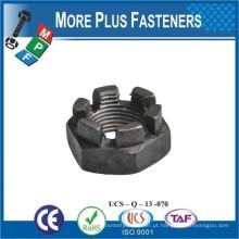 Fabricado em Taiwan DIN 937 Low Slotted Castellated Hex Nut Aço carbono Aço zincado