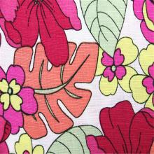 Tissu à armure toile en rayonne de lin imprimé floral