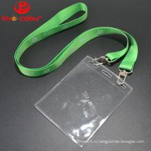 Пользовательский прозрачный водонепроницаемый мягкий держатель удостоверения личности для шнурка