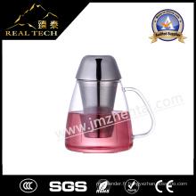 Coupe en verre résistant à la chaleur à la main avec bouchon en acier inoxydable