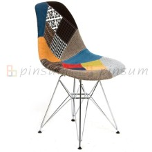 Eames Fabric Covered Chair with Chromed Leg