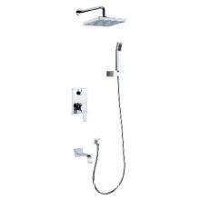 Brass Chrome Bathroom Shower Faucet Mixer Top Shower and Hand Shower