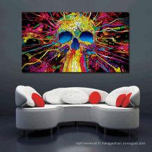 Art abstrait en toile de motif abstraite de crâne