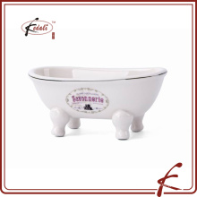 new design for bathtub ceramic soap dish with logo printed