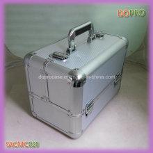De plata de rayas ABS de superficie de aluminio portátiles maquillaje caso de vanidad (saccom028)