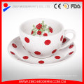 Wholesale Decal Printing Enamel Coffee Mug with Enamel Saucer