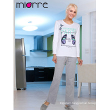 Miorre OEM Wholesale Women's Butterfly Printed %100 Cotton Long Sleeve Pajamas Set