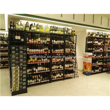 Supermarkt verstellbar 6 Tiers Epoxy beschichtetes Metall Wein Display Rack