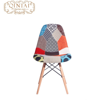 cheap wooden legs and plastic PP Colorful fabric dining chair