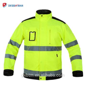 Les vestes d'hiver de haute visibilité d'OEM ouvrent la veste réfléchie de travail Workwear