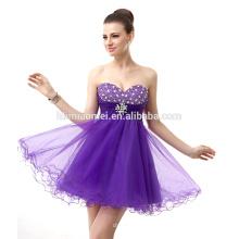 Vestido de noche nupcial elegante del hombro 2017 del cortocircuito del diseño del vestido de noche del color púrpura moldeado con escote corazón