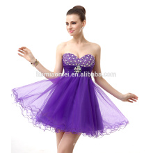 2017 Elegante fora do ombro vestido de noite de noiva projeto curto cor roxa vestido de noite frisado com decote querida