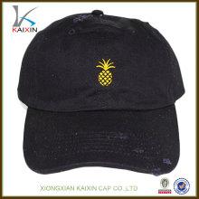 Personalizado promocional barato desgastado 6 paneles de borde corto de alta calidad bordado deportivo sándwich negro béisbol casquillo duro sombrero