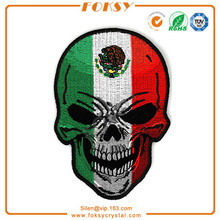 Mexican Flag Skull design embroidery patch
