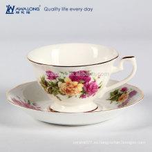 Cerámica fina magnífica y delgada taza de café de China de hueso y platillo Set