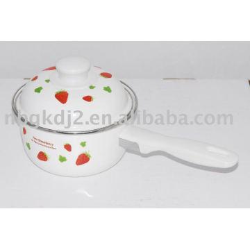 enamel pot with single handle