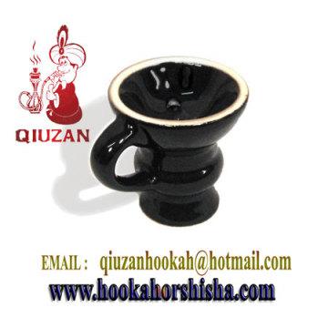 Exquisito cristal cachimba media cabeza cerámica con mango
