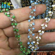 New Design Cup Claw Rhinestone Chain With Colorful Loops Metal Wire Rosary Beads Chain