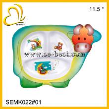 assiette en mélamine de forme vache pour enfants