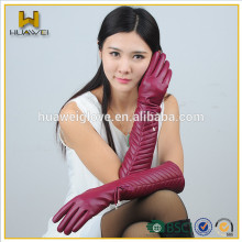 2016 Fashion and Pretty Red Long Leather Gloves for Women Wool lined Colored Leather Gloves Long for Ladies