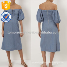 New Fashion Blue Cotton Day Dress With Lace-up Front Manufacture Wholesale Fashion Women Apparel (TA5287D)