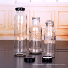 Wholesale Recyclable empty 9oz 270ml clear glass bottle juice bottles with metal lid for sale