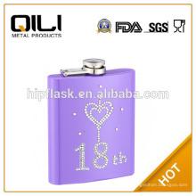 фиолетовый цвет краски восемнадцатый день рождения подарок из нержавеющей стали Фляга