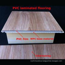 7mm Popular laminado en PVC WPC suelo laminado PVC suelo decorativo resistente al agua duradera